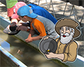 Kids panning for gold at Columbia State Historic Park