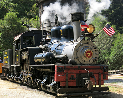 roaring camp railroad redwood forest steam train