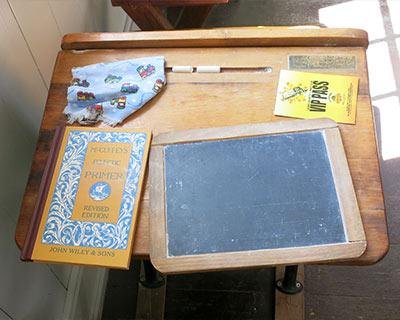 desk slate reader old sacramento schoolhouse