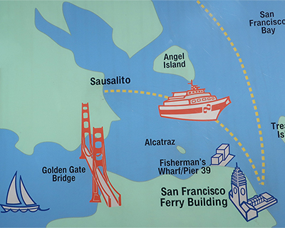 san francisco map ferry to sausalito