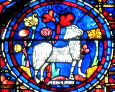 ram aries zodiac window chartres