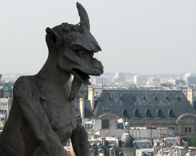 notre dame gargoyels one horned goat demon