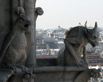 notre dame gargoyles goat demon and bird