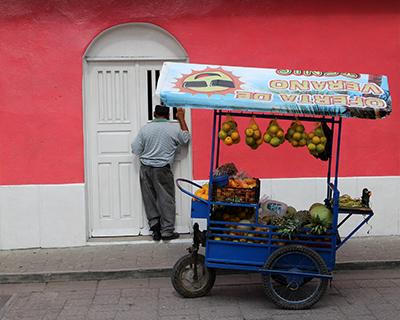 guatemala flores fruit cart pink house
