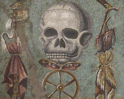 death skull mosaic pompeii naples archeological museum