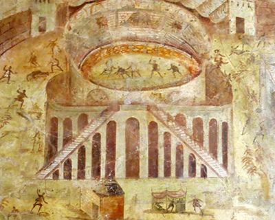 painting fight Pompeii amphitheater colosseum