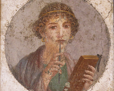 painting young woman pompeii naples archeological museum