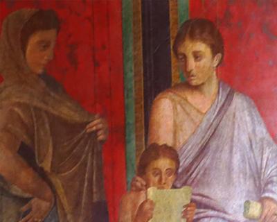 painting villa of mysteries pompeii