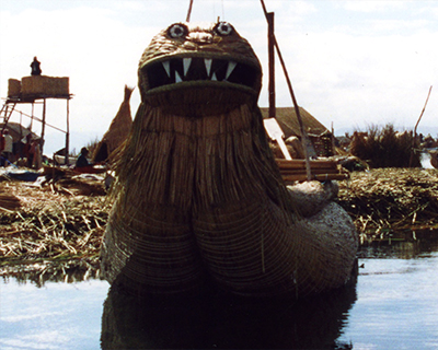 wild looking reed boat lake titicaca