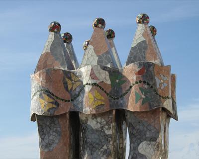 casa batllo mosaic chimneys