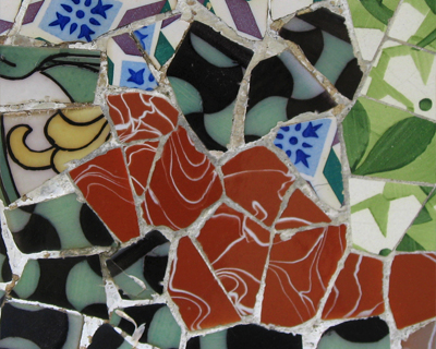 park guell mosaic bench