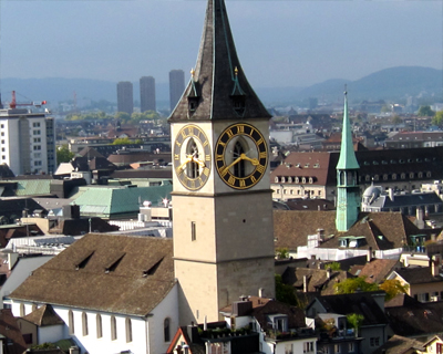 zurich panorama from grossmunster cathedral