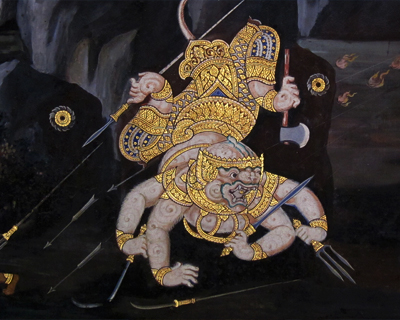 wat phra kaew murals ramayana ramakien hanuman