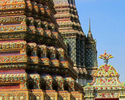 bangkok wat pho porcelain mosaics pagodas