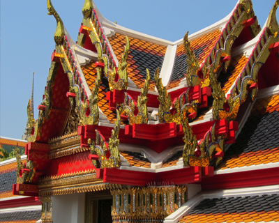 bangkok wat pho tiled roofs naga decorations