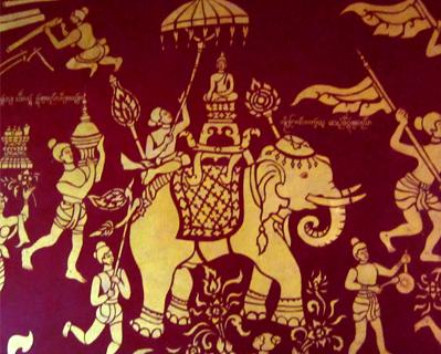 elephant mural wat chiang mon
