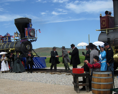 golden spike re-enactment spikes pounded in