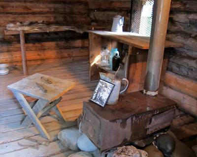 interior jack london cabin dawson city yukon